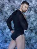 Men's black lightweight hood bodysuit leotard with long sleeves