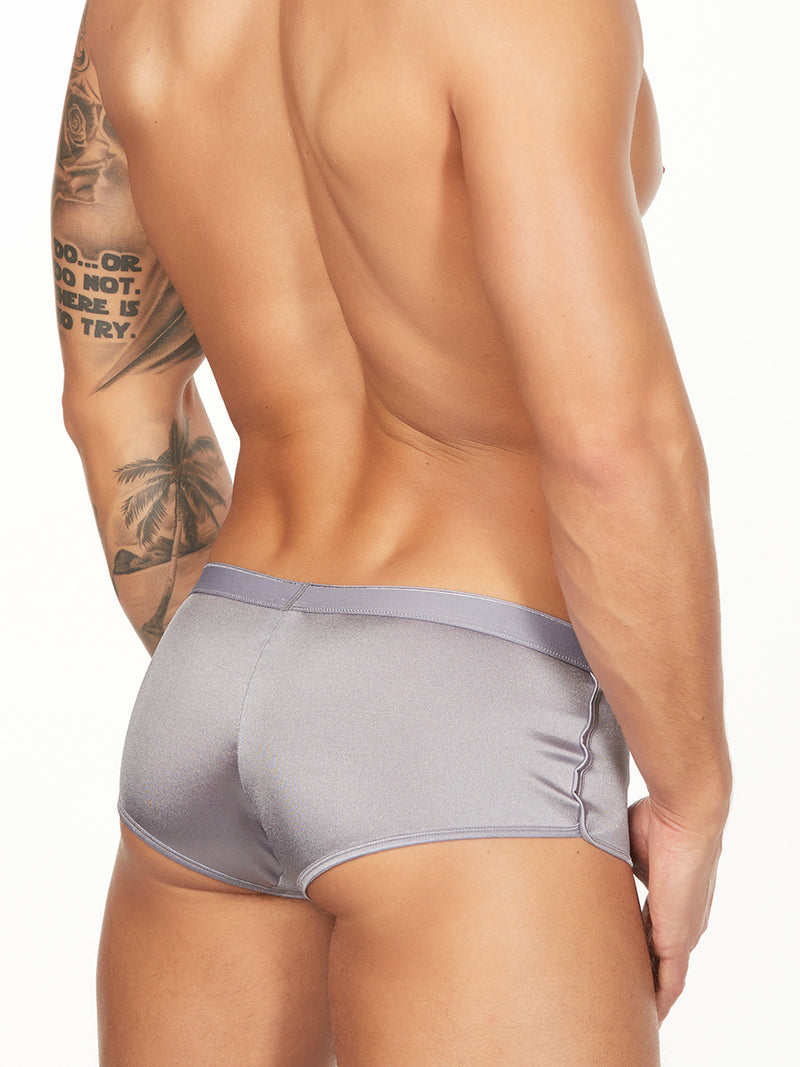 men's silver satin boxer briefs