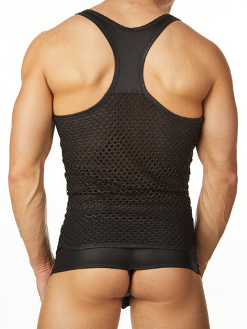 Men's black faux leather and fishnet industrial tank top