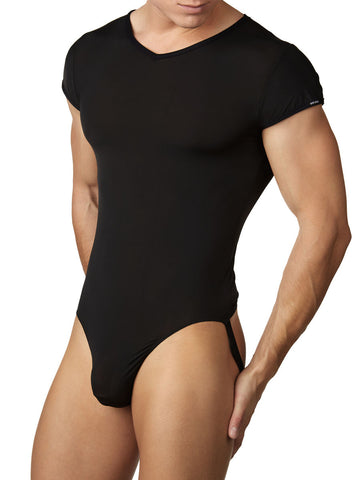 Men's black soft bodysuit leotard with jock back