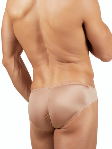 Men's nude shiny 4 way stretch satin cheeky look briefs