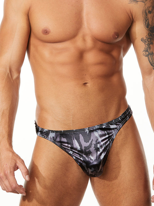 men's black camouflage thong