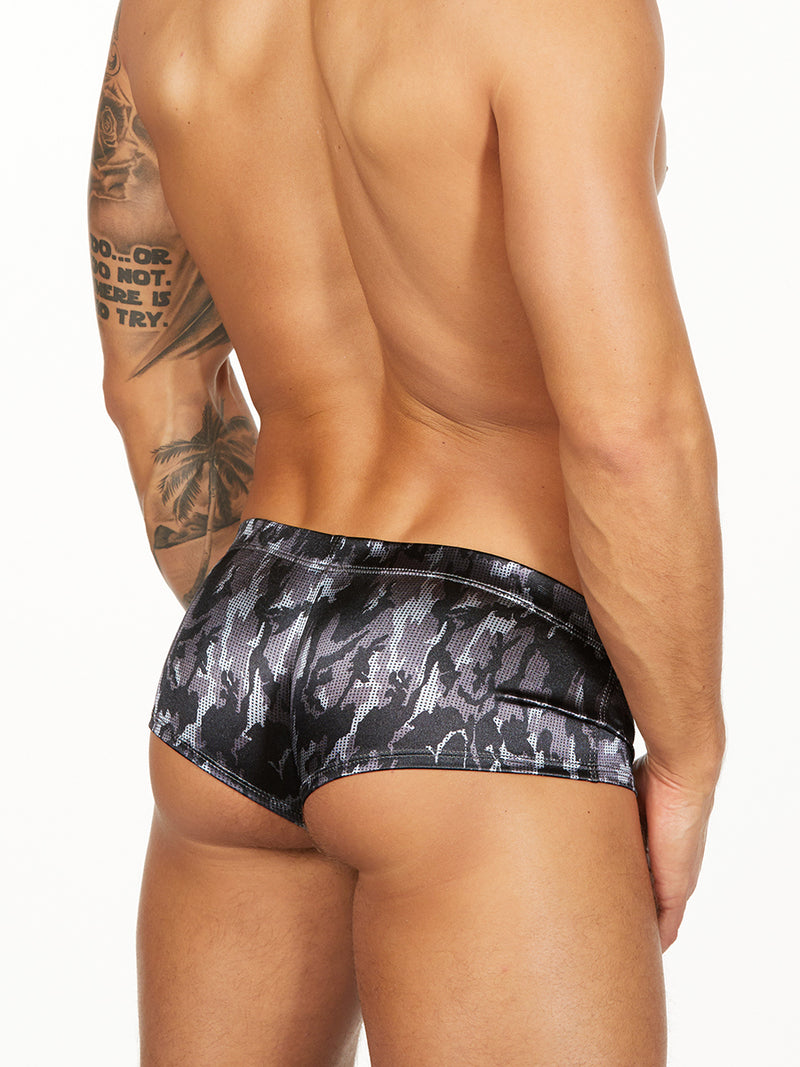 men's satin black camouflage boxers