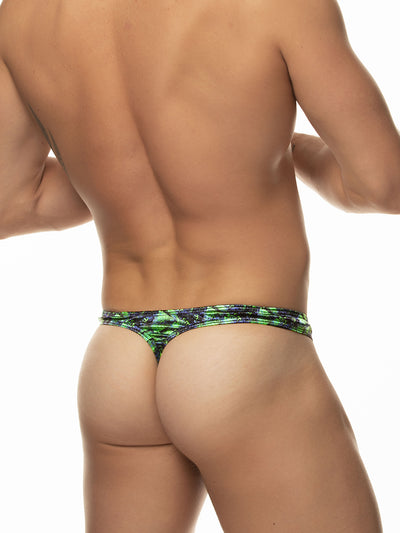Men's green satin print thong underwear