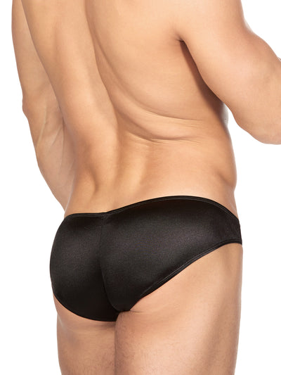 Men's Black Satin Bikini Briefs