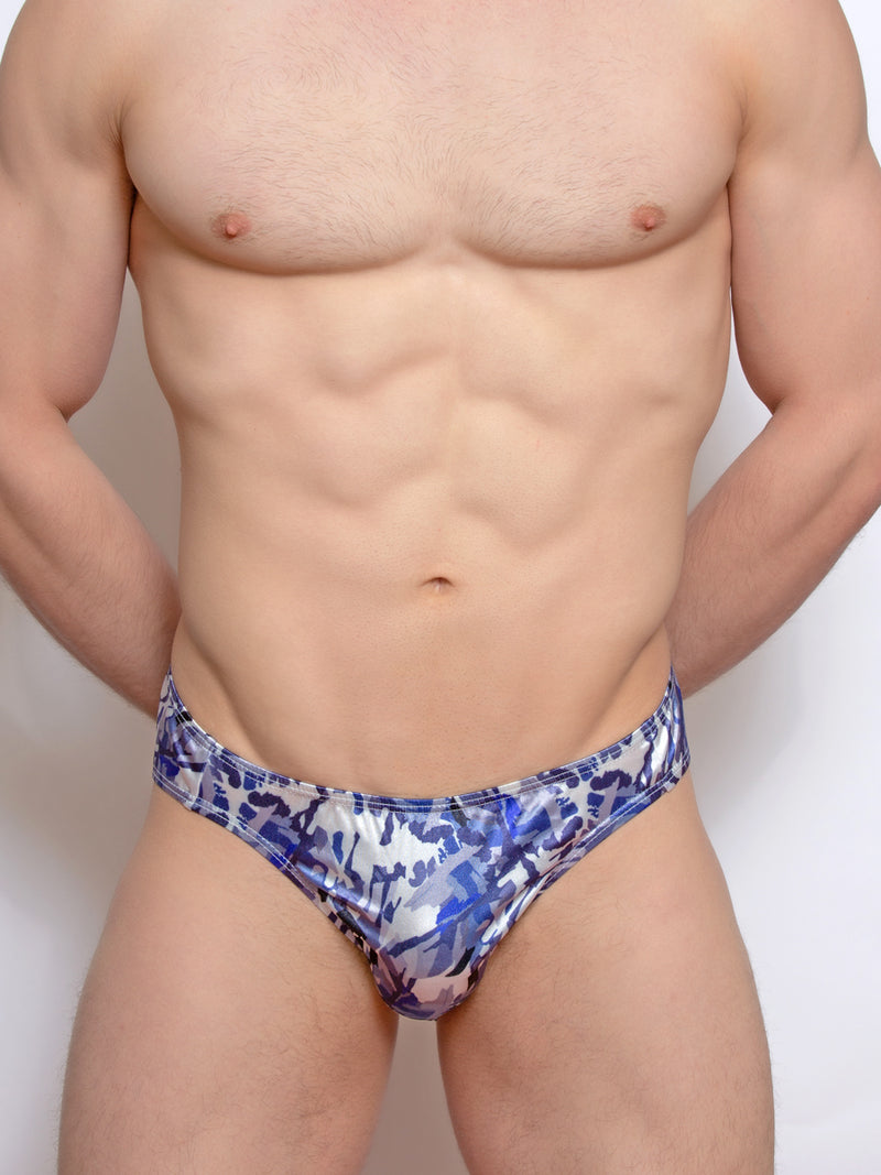 men's blue satin print briefs