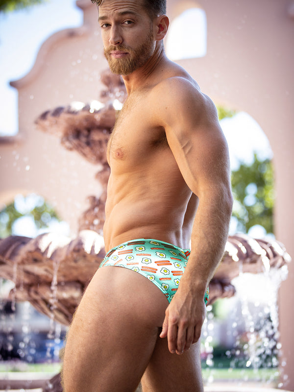 Men's breakfast print satin brief