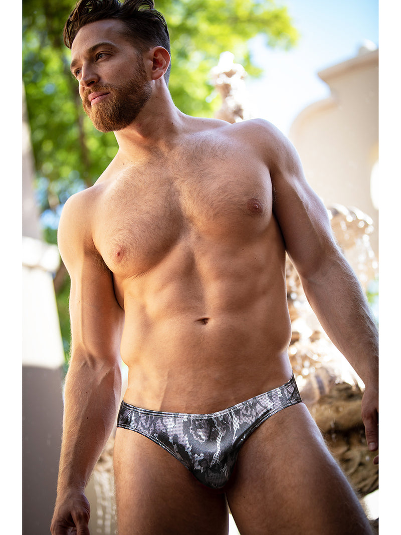 Men's camo satin briefs