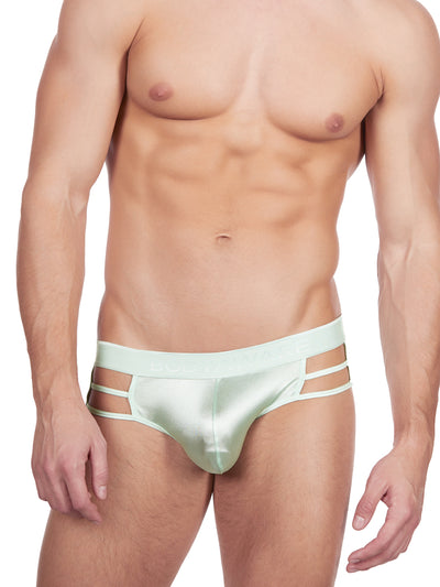 Men's green strappy and erotic satin brief underwear