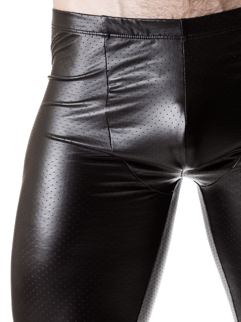 Men's sexy pleather stretch leggings
