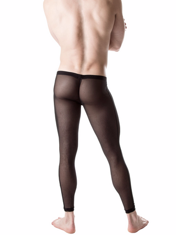 Men's black stretchy see through mesh leggings