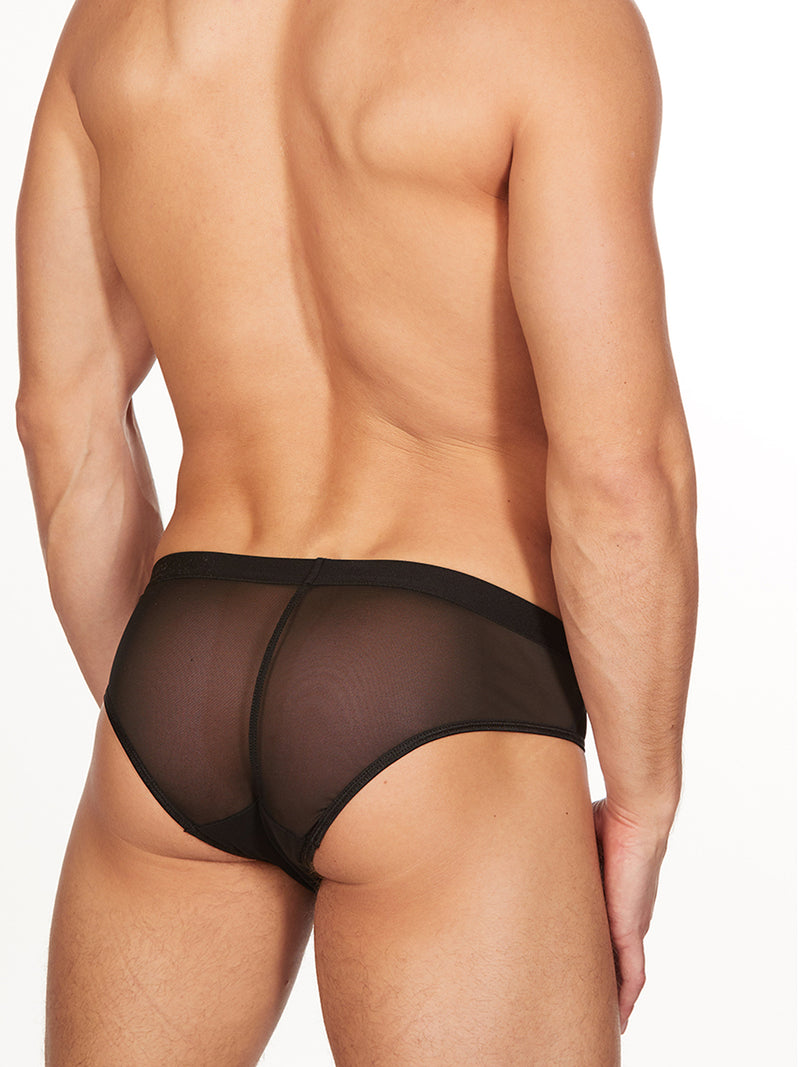 Men's black See Through Mesh Briefs
