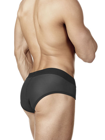 Men's black neoprene bulge brief