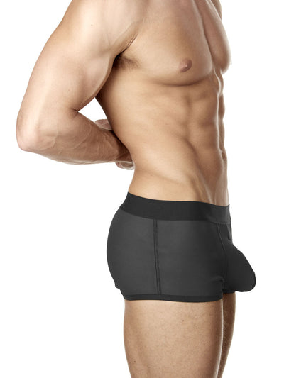 Men's black neoprene bulge boxer shorts with zipper fly