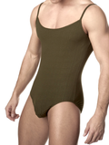 Men's olive soft ribbed spaghetti strap bodysuit leotard