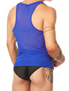 men's blue mesh tank top