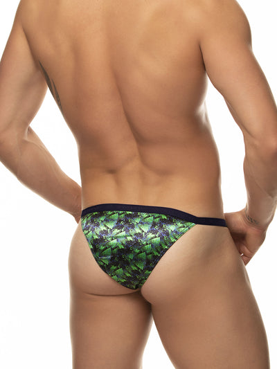 Men's green satin print tanga