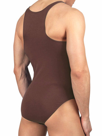 Men's brown bodysuit leotard