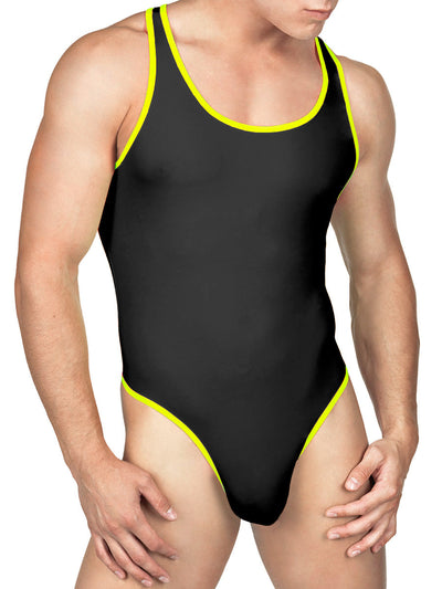 Men's black sport bodysuit