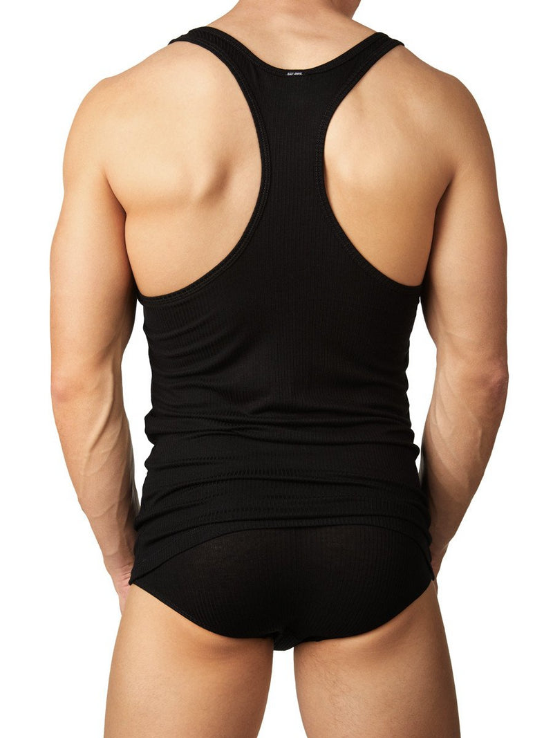 Men's black ribbed tank top