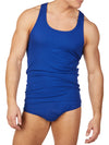 Men's blue ribbed tank top