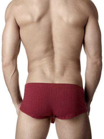 Men's burgundy soft ribbed rayon boxer briefs