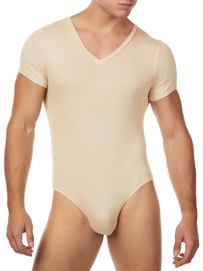 Men's nude ribbed bodysuit v-neck short sleeve