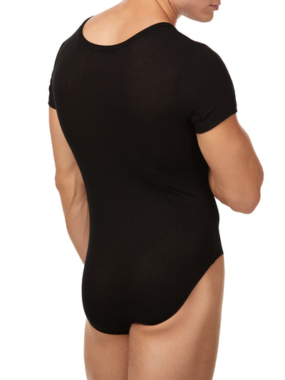 Men's black ribbed bodysuit v-neck short sleeve