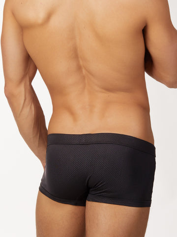 Men's black nylon and spandex drawstring short booty shorts