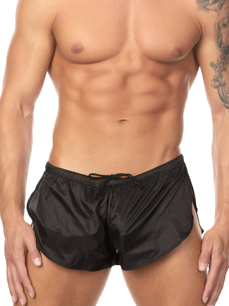 Men's black nylon shorts