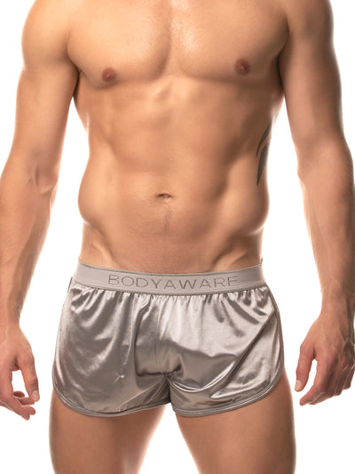 men's silver satin track shorts