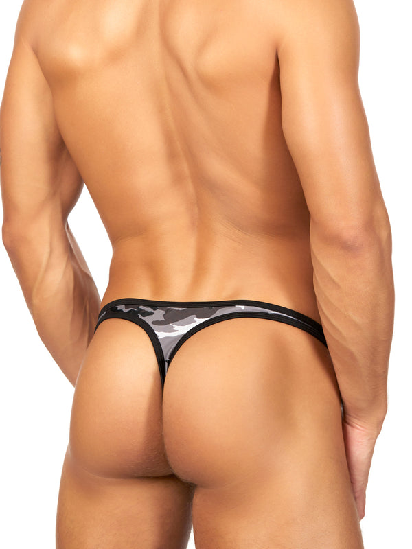 Men's camo print clip swim thong