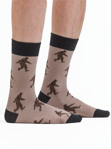 Men's crew socks brown sasquatch