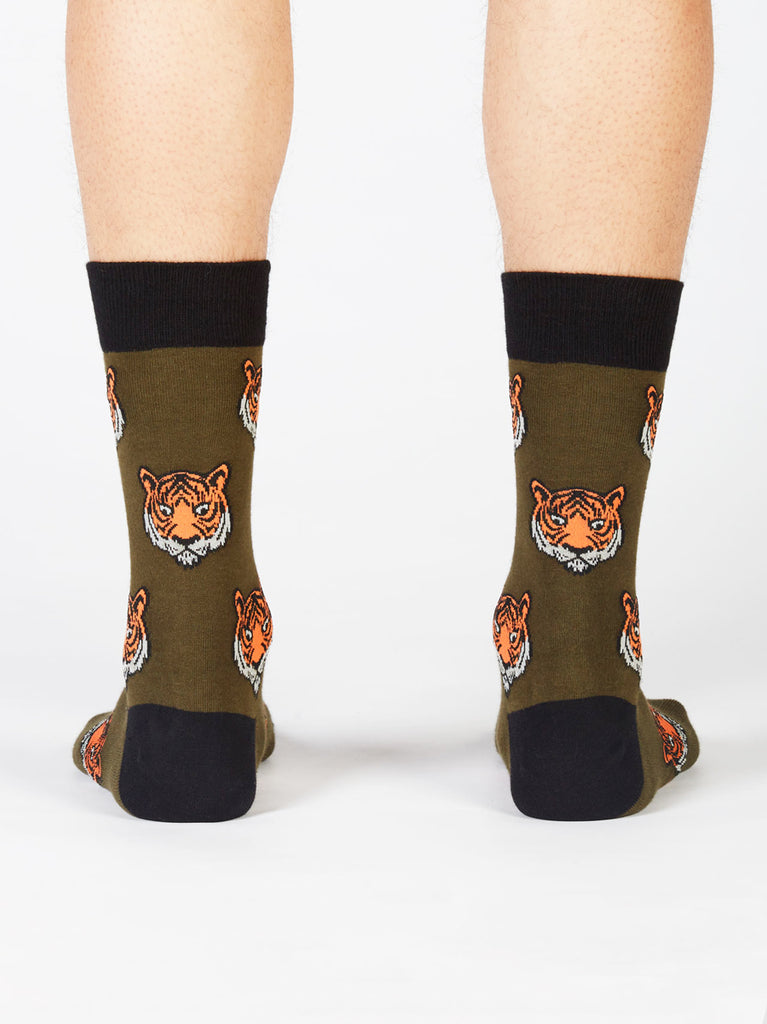 Men's tiger patterned black happy socks