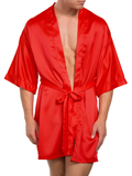 Men's red smooth and shiny satin robe