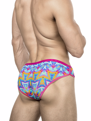 Men's pink and blue patterned brief panties