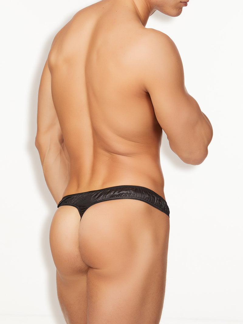 Men's black nylon plastic thong