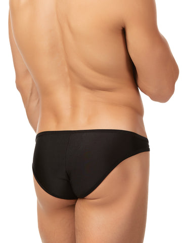 Men's black soft shiny bikini cut brief panties