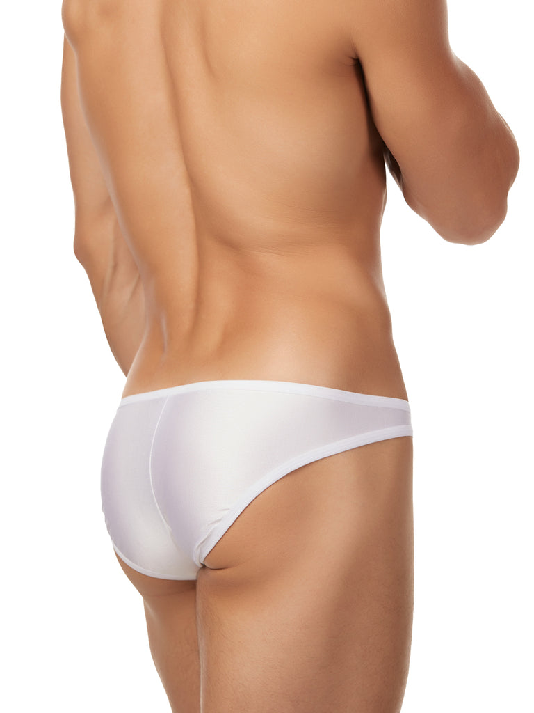 Men's white soft shiny bikini cut brief underwear