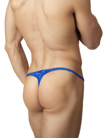 Men's Royal Blue Shiny Satin Ruffle Thong