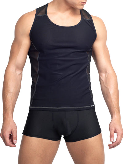 Men's Black Mesh Tank Top