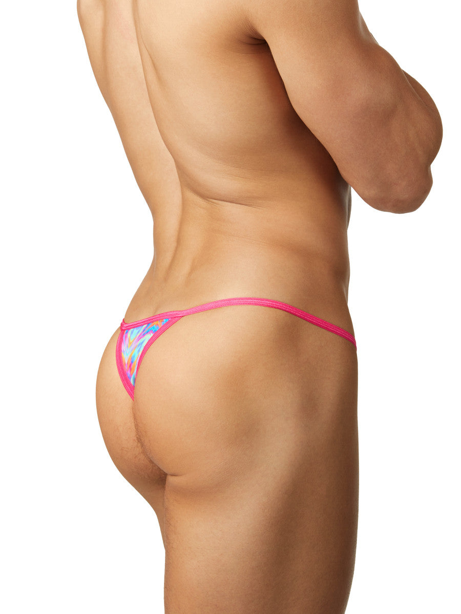 Men's pink and blue patterned gee string thong