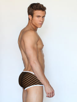 Men's black and white striped see through mesh erotic brief underwear
