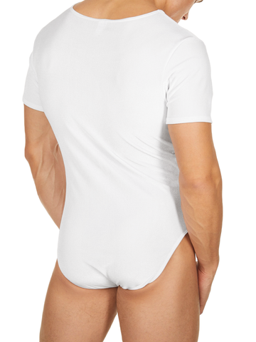 Men's white velvet bodysuit leotard with short sleeves