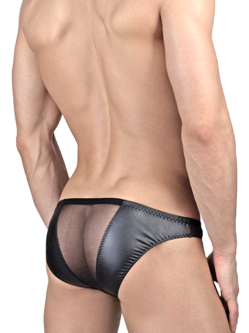 Men's black see through and pleather industrial briefs