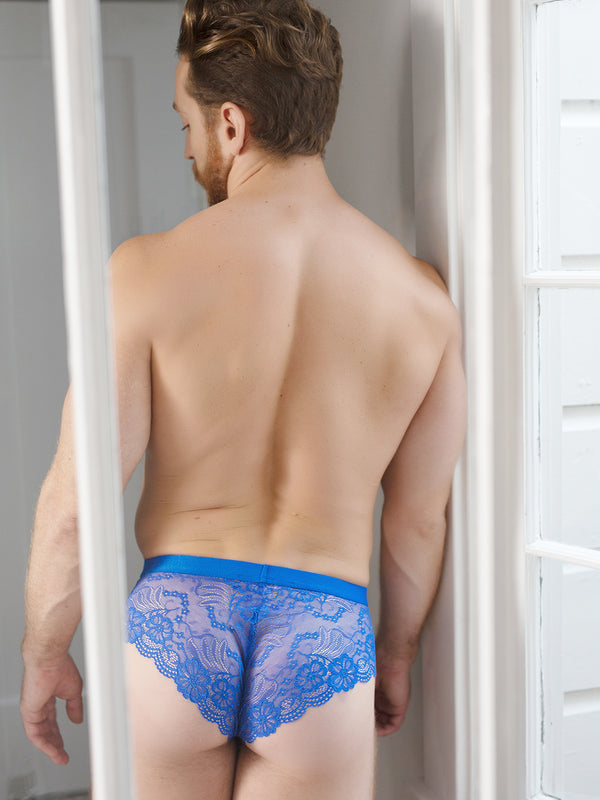 men's blue lace mesh pouch briefs