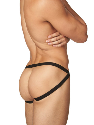 Men's orange and black striped strappy jock brief