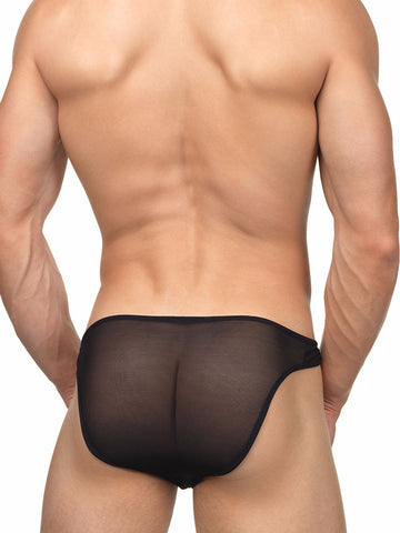 Men's black mesh see through ring brief