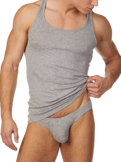 Men's grey ribbed tank top