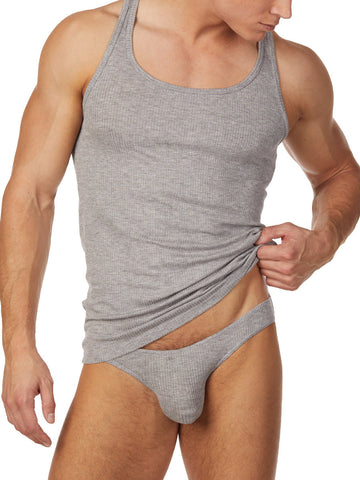 Men's heather grey ribbed tank top style undershirt
